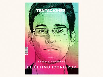TENTACIONES portrait face pop icon edward snowden artwork illustration vector editorial magazine tentaciones
