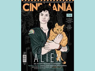 CINEMANIA digital art artwork illustration vector sci-fi horror terror film movie alien ripley cinemania
