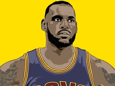 ESPN mag lebron james digital art artwork illustrator illustration portrait vector magazine editorial digital sport espn
