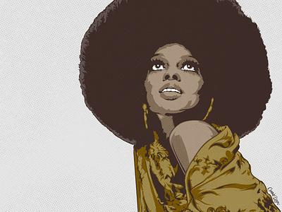 RETRO 03 digitalart editorial illustration pop music model sixties fashion afro print digital magazine portrait editorial digital art illustrator artwork illustration vector