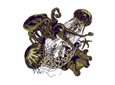 UNDER THE SEA creative design creative pattern design pattern art pattern fashion illustration illustrator digital editorial magazine artwork illustration vector starfish jellyfish octopus