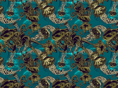 UNDER THE SEA editorial illustration composition creative creative design pattern art pattern fashion illustration fashion digital magazine editorial digital art illustrator artwork illustration vector