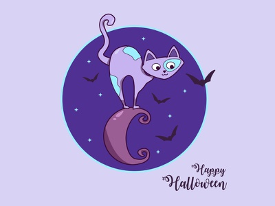 Gato de Halloween halloween party marco estrellas halloween design dibujos animados infantil miedo tenebrosa noche vampiros luna gato design cartel tarjeta vector ilustración halloween