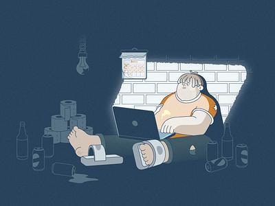 Freelancer vector illustration graphic vector cartoon character self-isolation freelancer character design illustration flat illustration cartoon