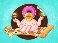 Сalorie yogi cartoon healthy vector illustration fastfood pizza yoga cartoon illustration cartoon character character design challenge adobe illustrator 2d character