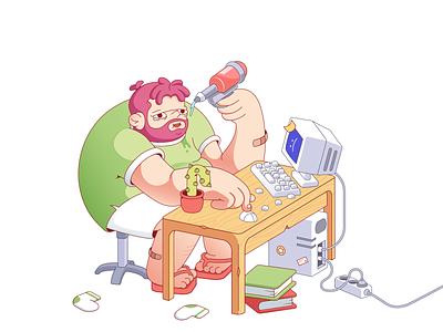 Heartbroken boy funny desktop boy illustration cartoon character cartoon illustration cartoon illustration 2d character character design