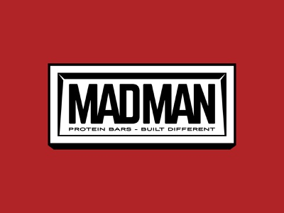 Madman Badge Design 3d type badge design brand identity brand branding identity logo design logo graphic design bodybuilding gym protein bar design badge