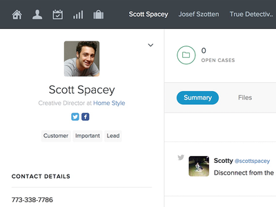 New Contact Page for Capsule CRM ui contact flat crm html css