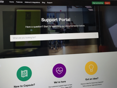 Support Portal customer redesign web support website design css html line icons ui