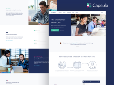 Capsule Homepage website brand rebrand green blue redesign homepage modern clean b2b business