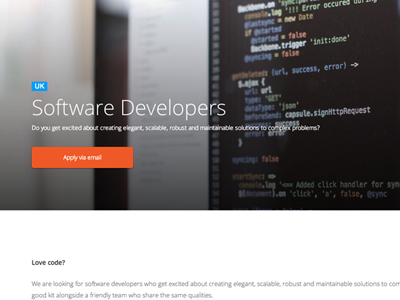 Developers Job page photo developers code css html jobs web app design clean white modern webdesign website css3