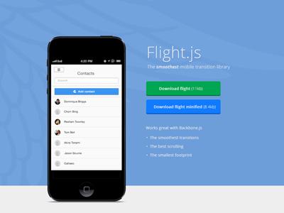 Download Flight web design app iphone mobile button clean homepage website css html javascript ui