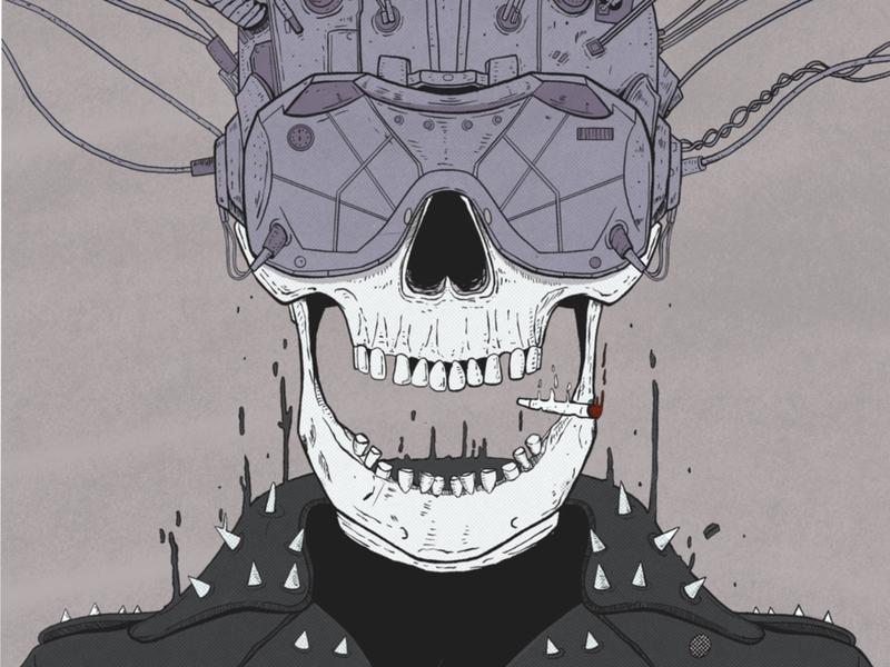 Jimmy's first time virtual reality expierence drawing poster retro comic art comics vr virtual reality punk illustrations procreate skull art cyberpunk skull skeleton illustration