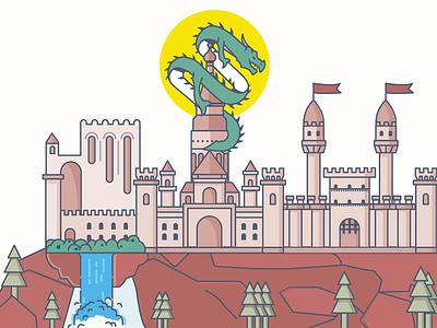 Dragon Castle kingdom monster illustration castle dragon