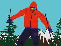 skier graphic design vector art