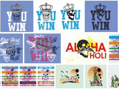 You win king skull graphic design vector art