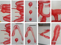 Red ink brush line stock photos