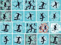 winter sports skier graphic design vector art