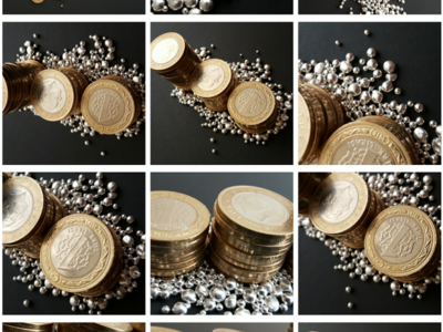 Silver and money Black background