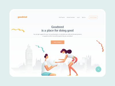Goodsted ux landing page landingpage mainpage homepage website interface design illustration ui