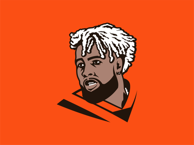 Odell Beckham Jr. receiver player hairstyle identity vector design illustration football nfl sport browns cleveland beckham odell