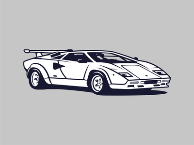 Lamborghini Countach 1985 illustration lamborghini car vintage vector classic retro old design branding garage speed vehicle automotive