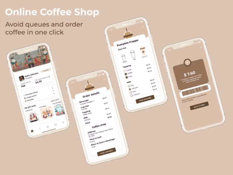 Order coffee online coffee mobile app mobile design ui