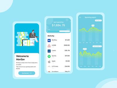 MonSav illustration money neon graph financial userinterface progress sky blue teal blue money tracker money tracking ux ui design ux design