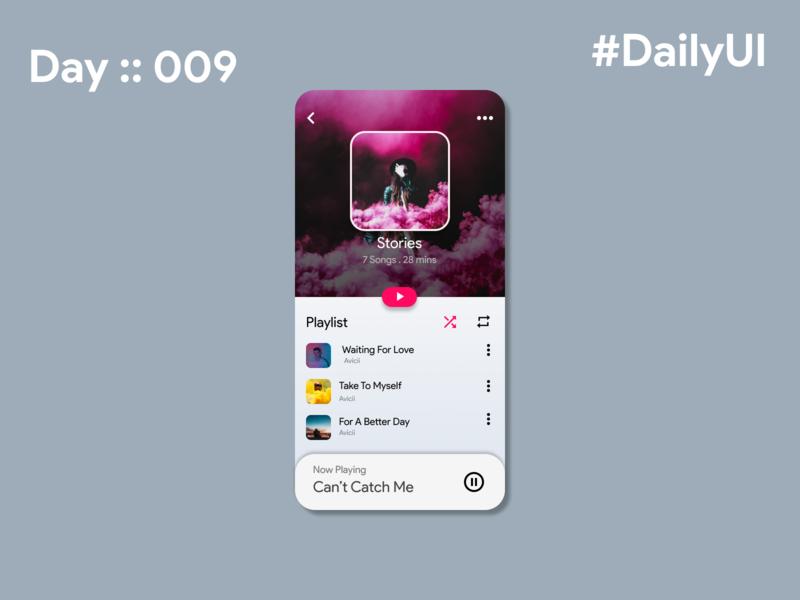 #DailyUI/Day 9 - Music Player