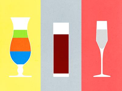 Color Contrast Cocktails vector contrast cocktail color illustration
