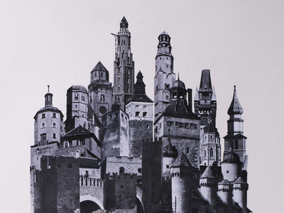 Castle Collage graphic design old white black illustration poster print analogue vintage postcard collage