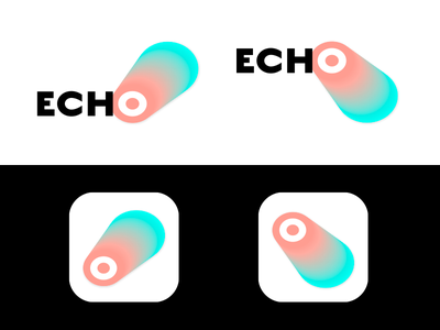 Echo-Logo cd ci branding shadow flat gradient concept service app web echo logo