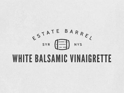 Estate Barrel White Balsamic Logo quoss id logo quoss.co identity icon mark brand barrel salad dressing
