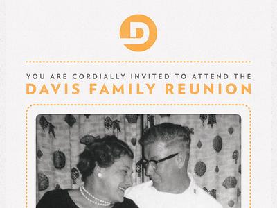 Davis Family Reunion quoss print party invite icon family quoss.co mark dash