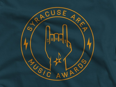 Six Finger Salute  quoss illustration syracuse local t-shirt graphic tattoo music award lightning haymaker losttype hand rock and also roll