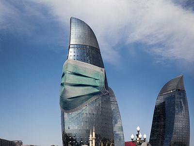 Corona Virus in Baku #StayHome flame towers coronavirus corona virus mask azerbaijan baku photomanipulation