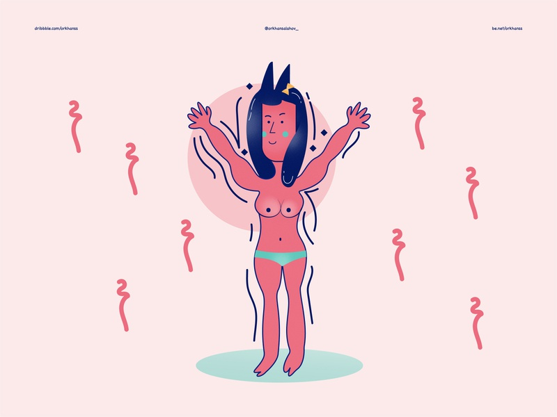 Ugly Naked Girl Illustration