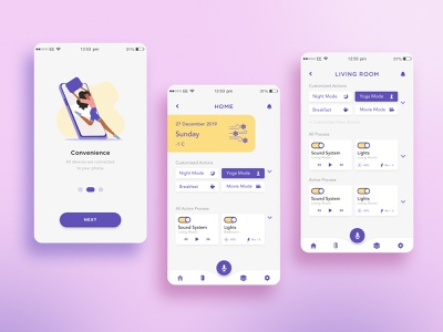 Smart Home Mobile App white ui design illustraion yellow pink violet modern ux  ui ux ui application smart home smarthome mobile app design mobile app mobile ui mobile