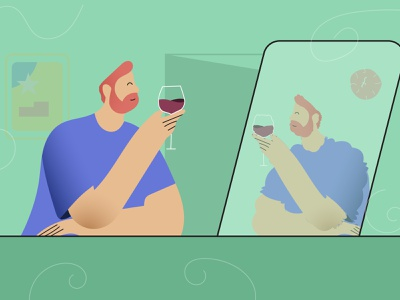 Alone guy drinks wine with himself modern illustration green wine glass wine mirror bar stayhome stay home drinking boy 2d character illustration modern