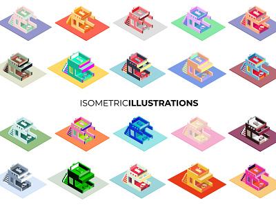Isometric 3D House Illustrations sale minimalist cute modern motel cafe house illustration 3d ilustration isometric design isometric illustration isometric