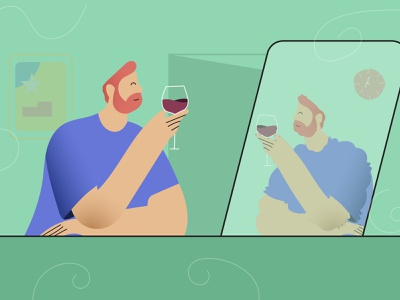 Guy drinking wine at home during quarantine modern illustration covid19 quarantine stay home human man wine modern illustration