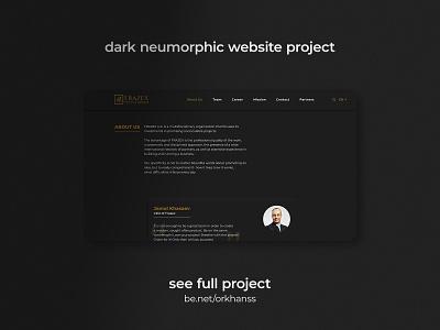 Dark Neumorphic Website Project - Frazex.com golden modern ux website design website page about us dark theme dark ui neumorphism neumorphic uxdesign uxui uidesign webdesign ui
