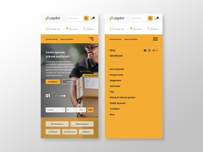 Cargoline Mobile Responsive Landing Page & Menu yellow uxui uxdesign web design landing page menu bar responsive website mobile ui ui design