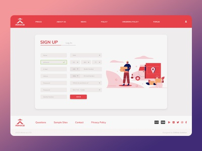 Registration Page - Mover.az web design ui  ux uiux ui design login page register page registration form registration page red website delivery app web illustration illustration ux ui uxui web website uidesign uxdesign webdesign