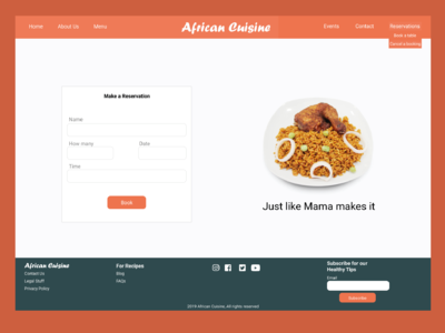 African Cuisine Reservation