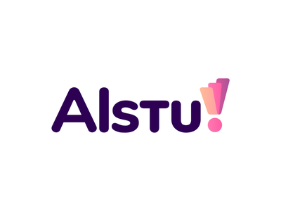 Alstu! Logo Proposal 03 (Unused for Sale) for sale round friendly rounded type layer layers layered surface pink highlights2d 3d color colors colorful shades exclamation point graphic design grid geometry geomtric review reviews product products the netherlands dutch for sale unused buy branding brand identity logo mark symbol icon