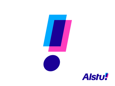 Alstu! Final Logo Design for Dutch Reviews Website the netherlands dutch product website marketing overlay overlap review grid geometry geomtric exclamation point graphic design colors colorfu blue pink type typography text custom branding brand identity logo mark symbol icon
