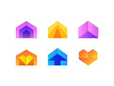 House / Arrow / Heart Logo Explorations (Unused for sale) orange shades gradient sharp corner angle home up success 3d space house housing arrows directions type typography text custom for sale unused buy branding brand identity logo mark symbol icon