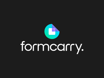 Formcarry Logo Exploration 03 (Unused for Sale) for sale unused buy transparency white neon glow bright gradient poster pattern purple green backend programming it software time watch quarter period round rounded circle form corner fold square type typography text custom branding brand identity logo mark symbol icon