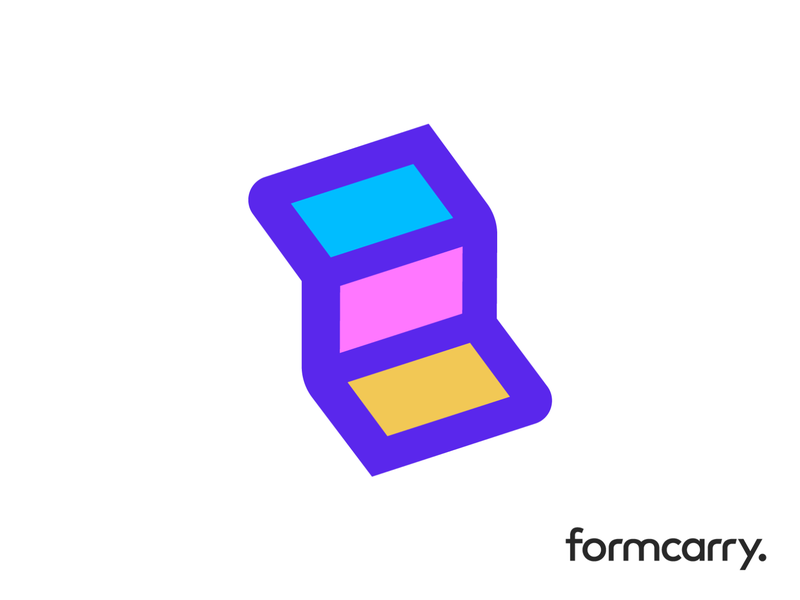 Formcarry Logo Exploration 04 (Unused for Sale) for sale unused buy upgrade scale level increase type typography text custom stairs ladder climb up rise progress success update pink blue orange purple orm complete fields data enter info account website backend programming it software angle sharp list geomtric branding brand identity logo mark symbol icon